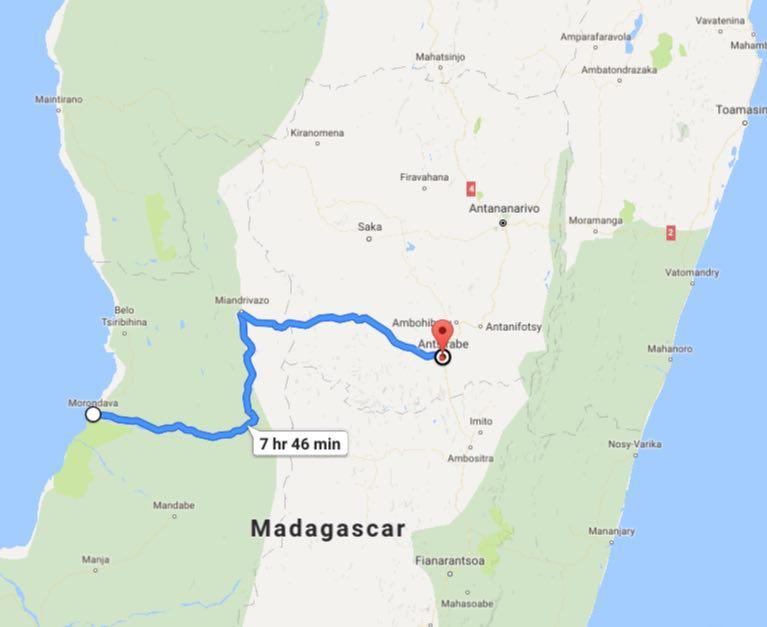 این هم مسیر طولانی روزانه مان از مورونداوا تا آنتسیرابه
