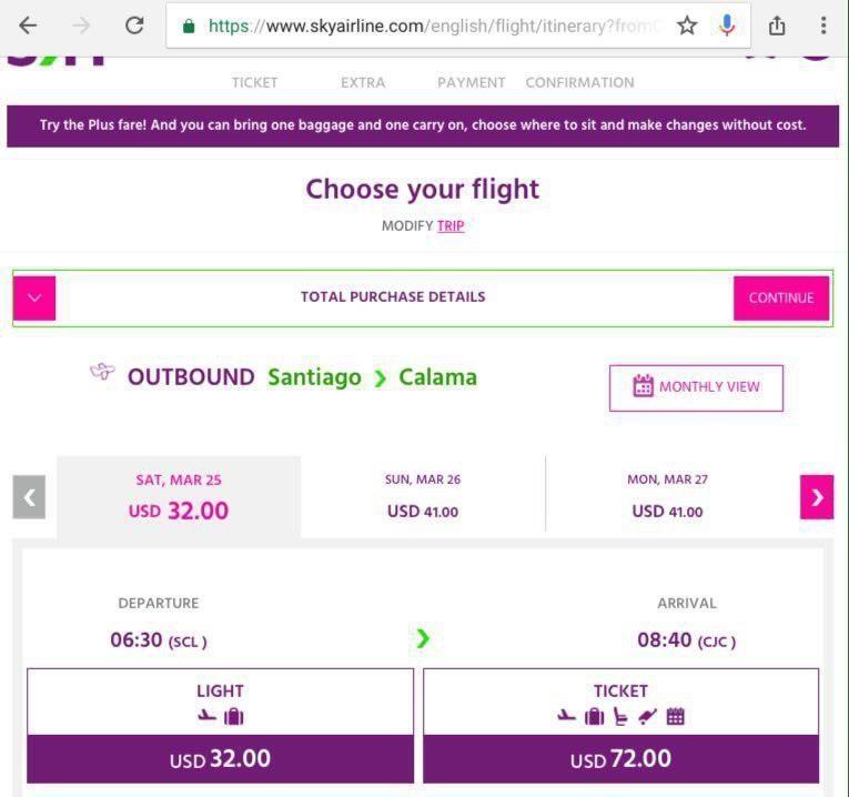 این هم نمونه ای از جستجوی پرواز روی سایت اسکای ایرلاین، می بینید که مثلا برای پروازی بیشتر از دو ساعت از مرکز تا شمال شیلی، لازم نیست مبلغی بیشتر از ٣٢ دلار پرداخت کنید!