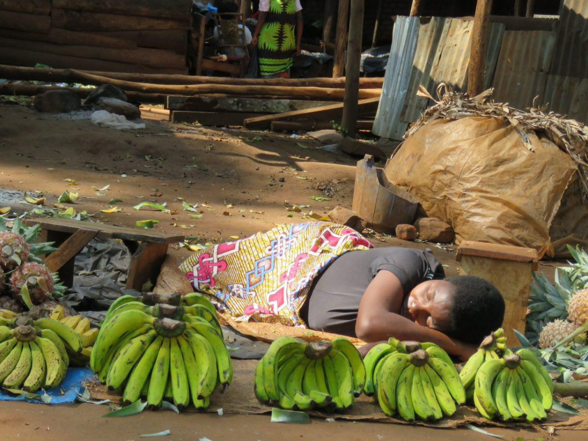 این هم بساط میوه فروش های مولانجه، یعنی به غایت خسته اند این ها، خسته...